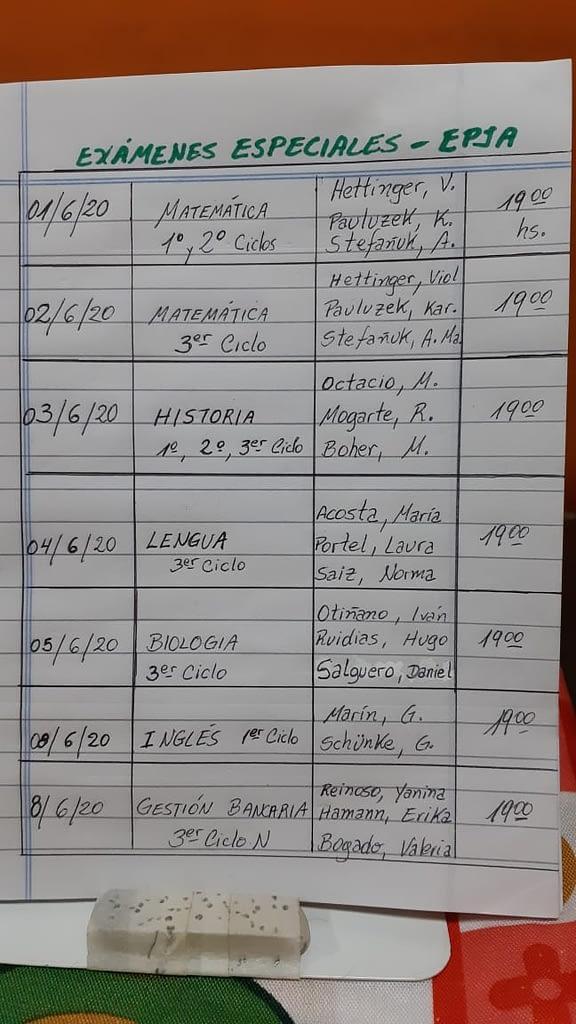 Mesas de examen especiales junio 2020 del Turno Noche (EPJA)